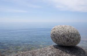 Granite stones at sea coast.